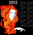 Stylish calendar with woman for 2012 week starts o vector