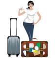 Traveling girl vector