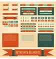 Flat retro vintage web elements set vector