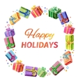 Card happy holidays square frame of gifts vector