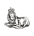 Lion big cat with crown vector
