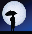 Man with umbrella on the moonlight vector