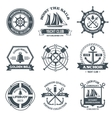 Nautical label black vector
