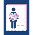 Pink flowers woman in love silhouette frame vector