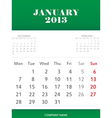 January 2013 calendar design vector