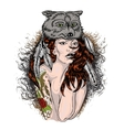 Portrait of a girl in wolfs clothing vector