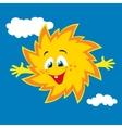Happy cartoon sun smiling vector