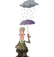 Man under an umbrella vector