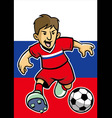 Russian soccer player with flag background vector