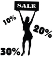 Sale sign with girl vector