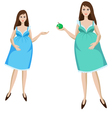 Young pregnant woman in blue dress vector