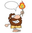 Caveman holding up a torch with speech bubble vector