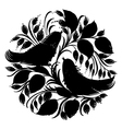 Decorative silhouette circle birds of paradise vector