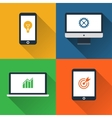 Flat design long shadow styled gadget icon set vector