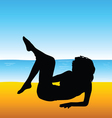 Woman silhouette on beach vector