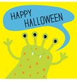 Cute green monster with speech text bubble vector