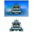 Blue nautical heraldic emblems or logo vector