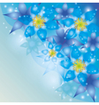 Abstract background with exotic flowers blue vector