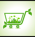 Ecology concept - eco cityscape with shopping cart vector