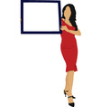 Elegant lady with sign vector