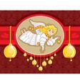 Christmas card angel bell vector