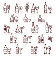 Set of alcohols bottles and wineglasses vector