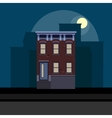 Townhouse in flat polygonal style night cityscape vector