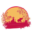 Abstract card with asian buildings and elephant vector