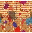 Seamless dirty brick wall graffiti paint vector