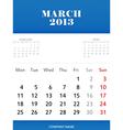 Mar 2013 calendar design vector