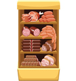 Shelfs with meat products vector