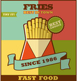 Fast food menu hot fries vector