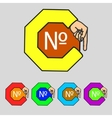 Number icon flat modern set colourful web buttons vector