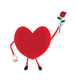 Red heart and red rose on white background vector