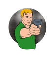Man pointing gun vector
