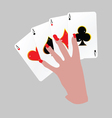Poker with four aces in hand vector