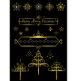 Options gold christmas tree and snowflakes vector