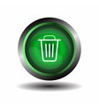Recycle bin icon green trash bin icon on a white b vector