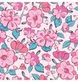 Pink blue kimono flowers seamless pattern vector