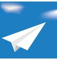 Origami white airplane vector