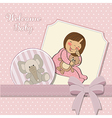 Little baby girl with her teddy bear toy vector