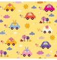 Cute animals driving cars kids pattern 2 vector