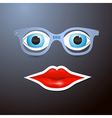 Abstract mouth glasses and eyes vector