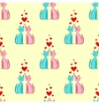 Seamless pattern of romantic couple cats vector