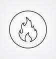 Fire outline symbol dark on white background logo vector