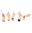 Set of beautiful female hands 2 vector