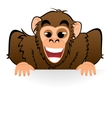 Monkey behind white board vector