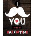 Retro valentines typography on wooden planks vector