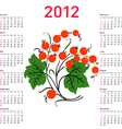 Stylish calendar with flowers for 2012 week starts vector