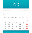 June 2013 calendar design vector